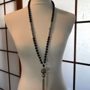 Jewelry - Long bead and tassle necklace black